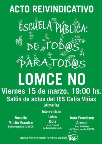 Acto en Almeria.- 15 marzo IES Celia Viñas.